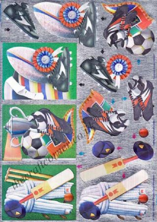 Cricket, Football and Rugby Die Cut Dufex 3d Decoupage Sheet
